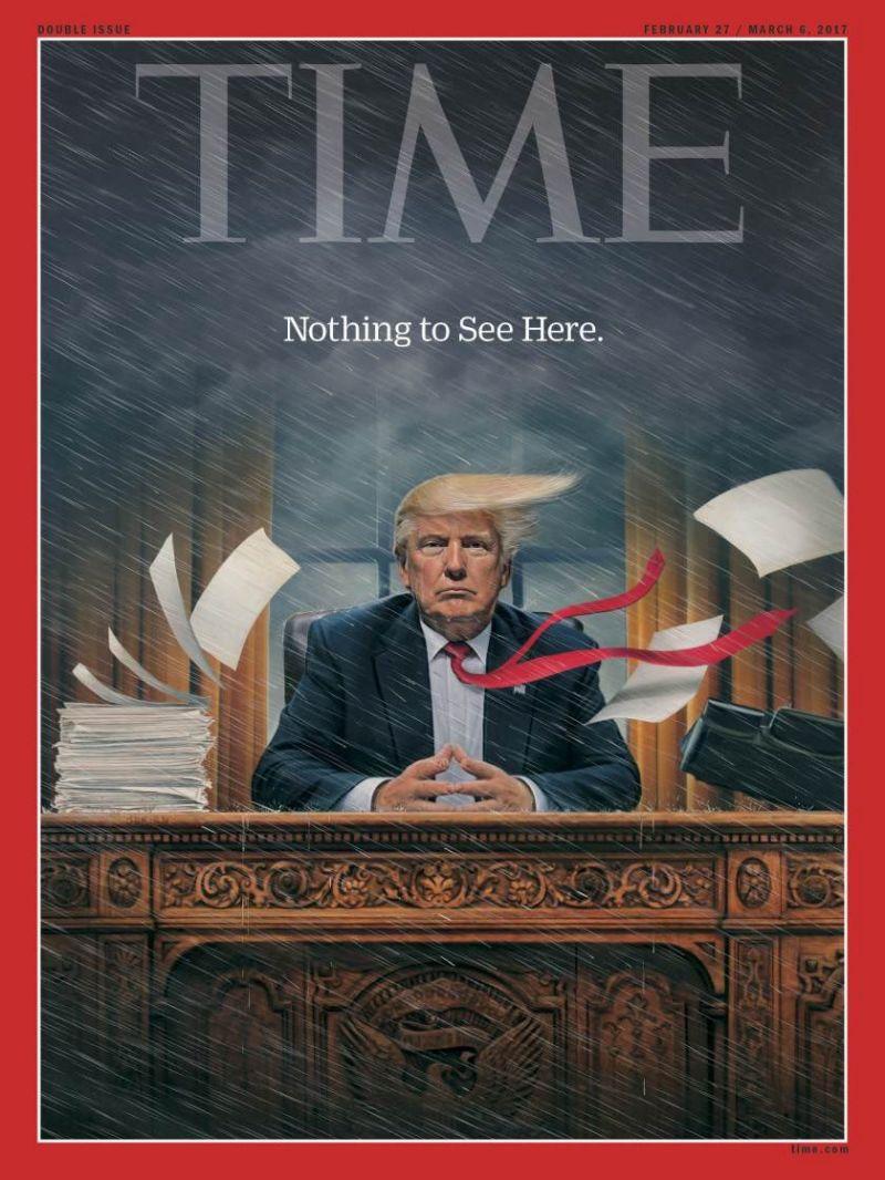 """غلاف """"التايم"""" يلخص شهرا من حكم ترامب ويعلن """"ماكاين ما يتشاف"""""""